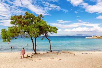 view of Vurvuru beach in Halkidiki, Greece