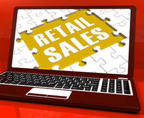 Retail Sales Laptop Shows Selling Or Sales Online