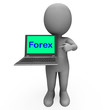 Forex Character Laptop Shows Foreign Fx Or Currency Trading