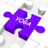 Yoga Puzzle Shows Meditation Health And Relaxation