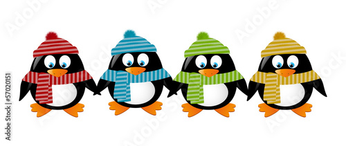 Cute winter penguins holding hands