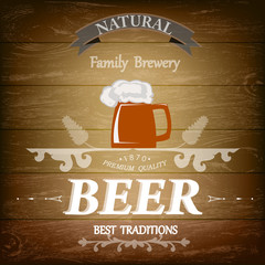 Beer.Best Family Traditions .Pub culture.Vector illustration