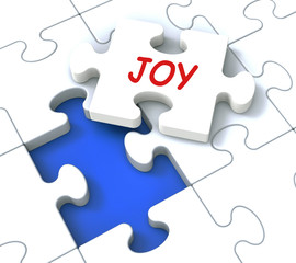 Joy Puzzle Shows Cheerful Joyful Fun Happy And Enjoy