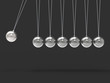 Seven Silver Newtons Cradle Shows Blank Spheres Copyspace For 7