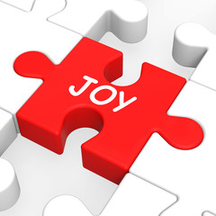 Joy Puzzle Shows Cheerful Fun Happy And Enjoy