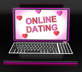 Online Dating Message On Laptop Shows Romancing And Web Love