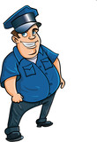 Fat jolly cartoon policeman