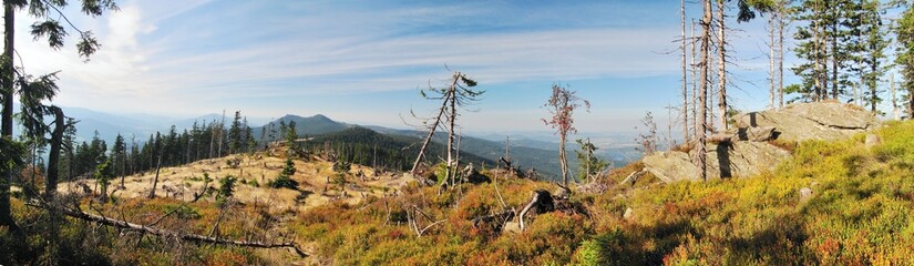 west view from Svaroh mountain in Sumava mountains