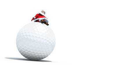 Santa sits on a Giant Golf Ball. Seamless loop with Alpha