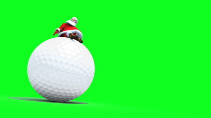 Santa sits on top of a Giant Golf Ball. Seamless loop