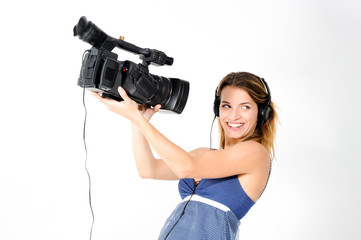Girl with headphones and camera