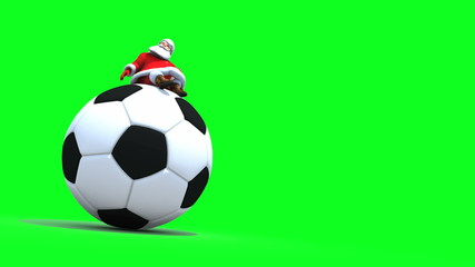 Santa sits on a giant Football. Seamless loop