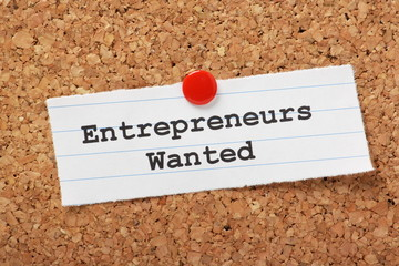 Entrepreneurs Wanted note pinned to a cork notice board