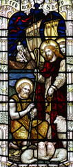 Jesus and St. Peter in stained glass