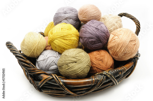 Wool yarn balls in the basket