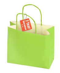 shopping bag and guarantee tag