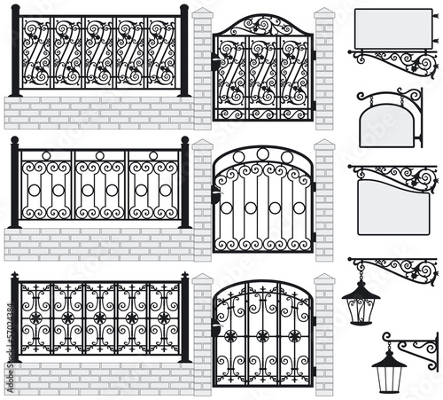 Set of iron wrought fences, gates, signboards, lanterns.Vector