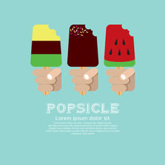 Variety Popsicle in Hand.EPS10