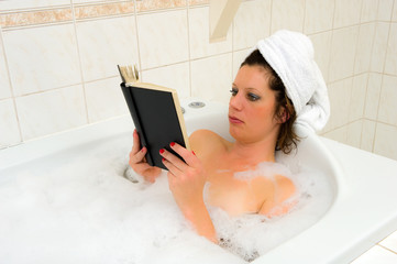 Reading book in bath