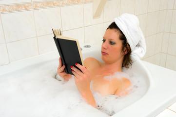 Reading book in bath