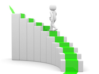 3d man - people climb the staircase - stair