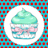 Vector background with cupcake