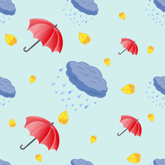 Seamless pattern of umbrellas and clouds