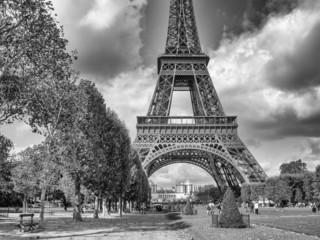 Paris. Wonderful september colors of Eiffel Tower and Champs de