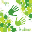 Slime spatter Halloween card in vector format.