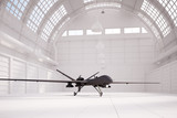 Comabt drone in white hangar poster