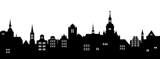 Historische Stadtkulisse - schwarz, Vektor und freigestellt