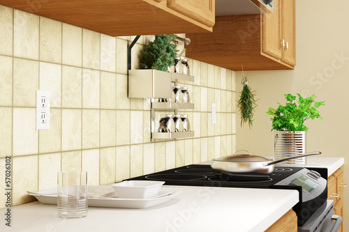 Kitchen interior closeup with herbs