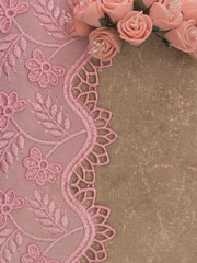 lace on the vintage paper background