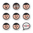 Man, boy faces, avatar vector icons set