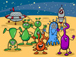 ufo aliens group cartoon illustration