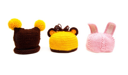 Three knitted hats for newborns