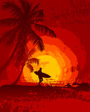 Tropical sunset, surfer, palm trees
