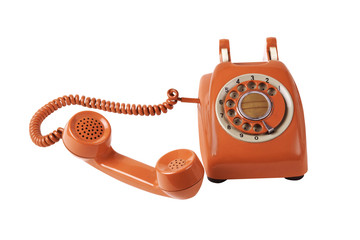 old orange telephone with rotary dial