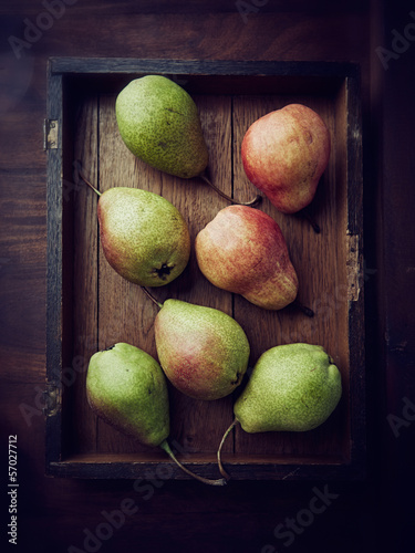 Still life with green and red pears