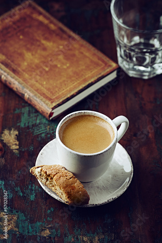 Cup of espresso with cantuccini