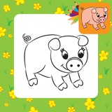 Cartoon pig. Coloring page. Vector illustration.