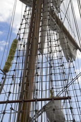 Marine rope ladder on the sailing ship