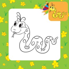Coloring page. Funny cartoon snake. Vector illustration