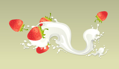 Milk splash with strawberry on light background.