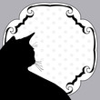 Art vintage notice board with silhouette cat