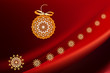 red Christmas background with ethnic ball