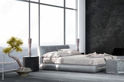 Luxury Bedroom interior with wooden floor