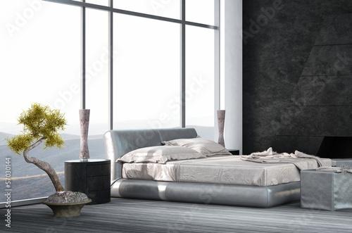 Luxury Bedroom interior with wooden floor