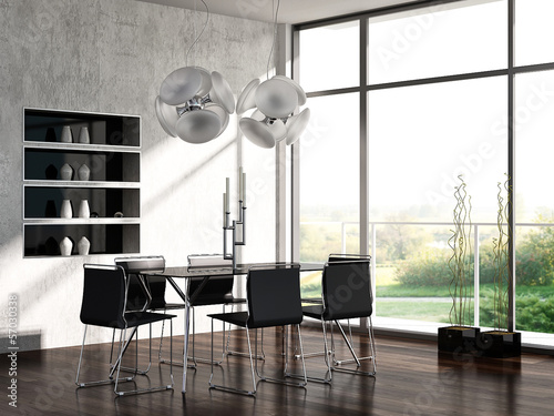 Modern Dining Room Interior with Luxury Table Setting