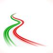 Abstract waving Italian, Mexican, Hungarian and Iranian flag